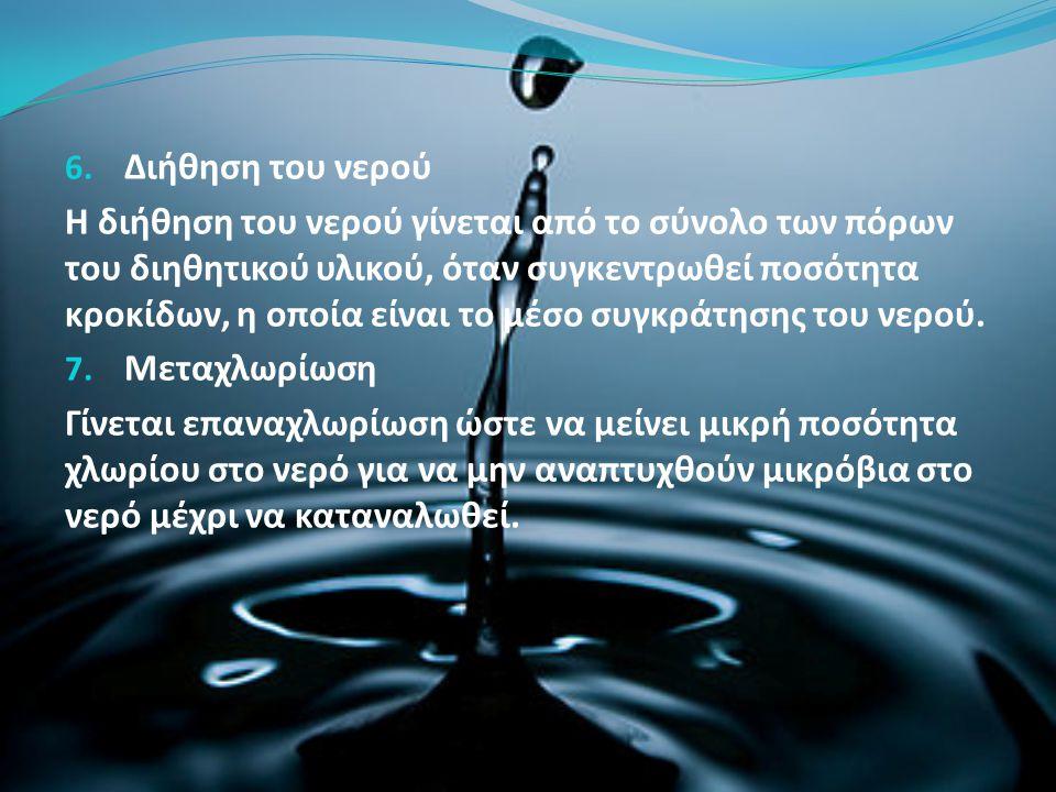 6. Διήθηση του νερού Η διήθηση του νερού γίνεται από το σύνολο των πόρων του διηθητικού υλικού, όταν συγκεντρωθεί ποσότητα κροκίδων, η οποία είναι το