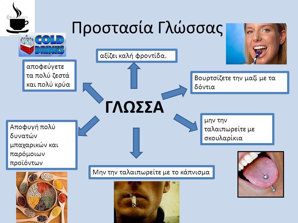 Προστασία Γλώσσας ΓΛΩΣΣΑ αξίζει καλή φροντίδα. Βουρτσίζετε την μαζί με τα δόντια αποφεύγετε τα πολύ ζεστά και πολύ κρύα μην την ταλαιπωρείτε με σκουλα