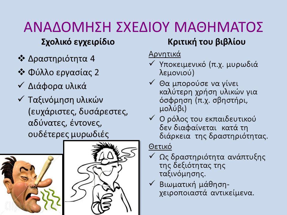  Δραστηριότητα 4  Φύλλο εργασίας 2  Διάφορα υλικά  Ταξινόμηση υλικών (ευχάριστες, δυσάρεστες, αδύνατες, έντονες, ουδέτερες μυρωδιές Αρνητικά  Υπο