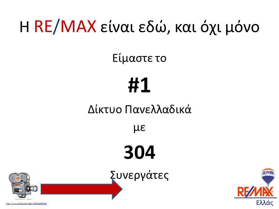 Η RE/MAX είναι εδώ, και όχι μόνο Είμαστε το #1 Δίκτυο Πανελλαδικά με 304 Συνεργάτες http://www.youtube.com/watch?v=2OKpp9bBu6Y