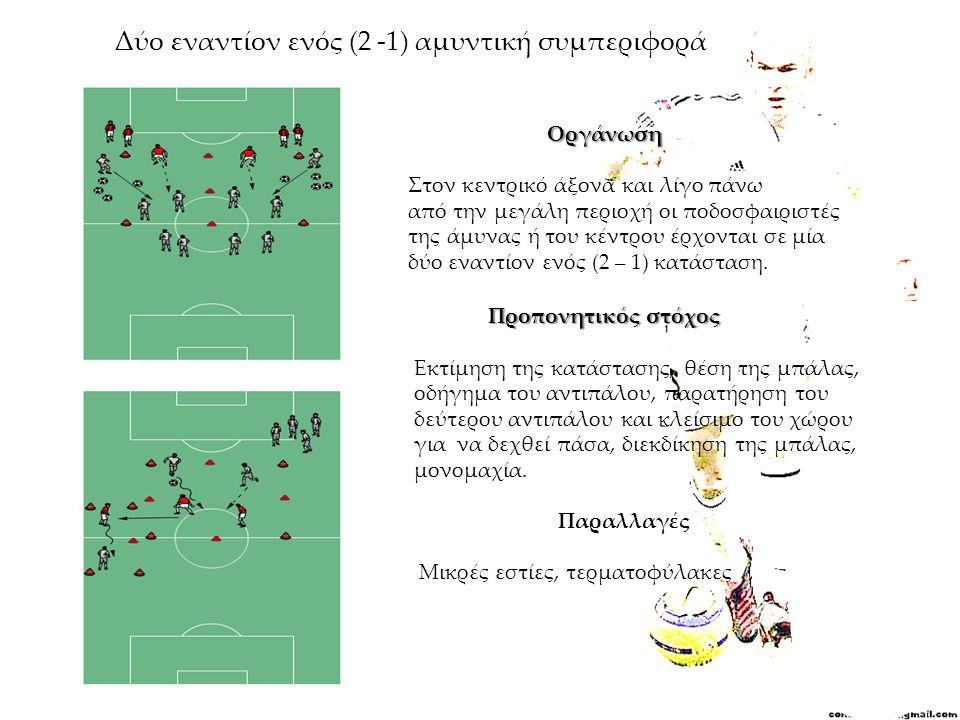 Δύο εναντίον ενός (2 -1) αμυντική συμπεριφορά Οργάνωση Στον κεντρικό άξονα και λίγο πάνω από την μεγάλη περιοχή οι ποδοσφαιριστές της άμυνας ή του κέν