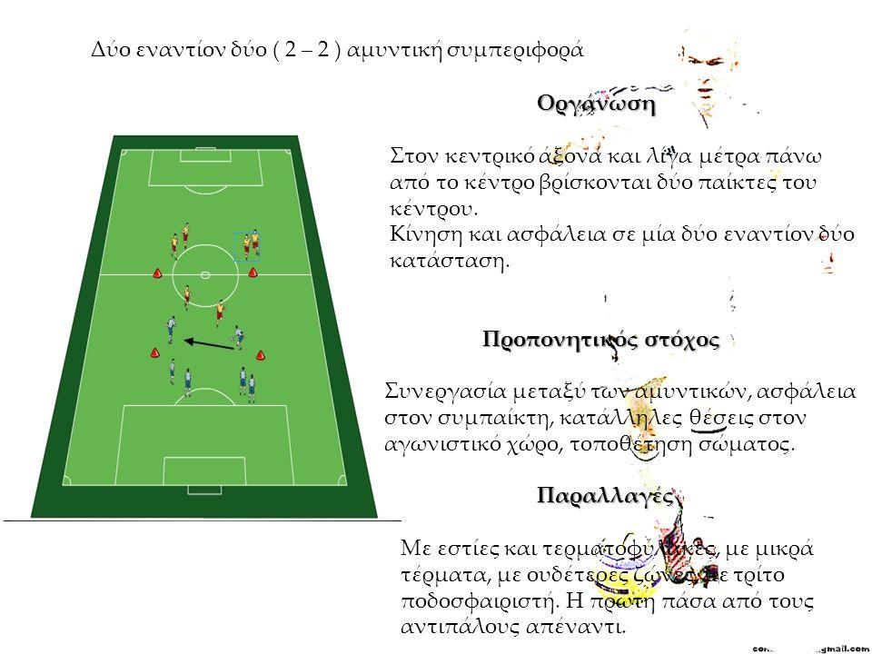 Δύο εναντίον δύο ( 2 – 2 ) αμυντική συμπεριφορά Οργάνωση Στον κεντρικό άξονα και λίγα μέτρα πάνω από το κέντρο βρίσκονται δύο παίκτες του κέντρου. Κίν