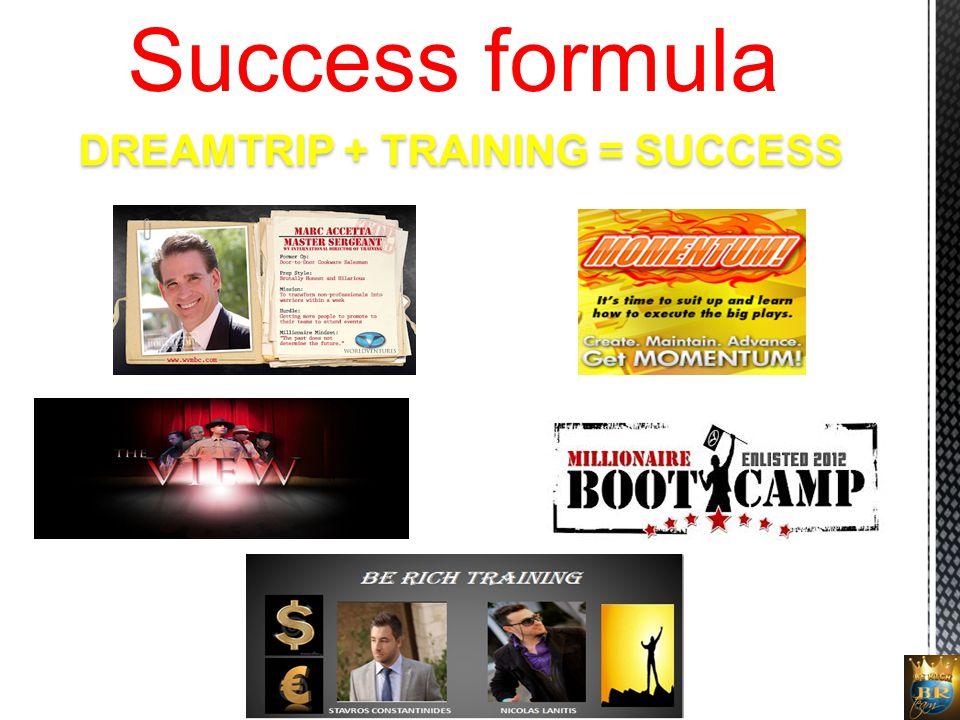 DREAMTRIP + TRAINING = SUCCESS Success formula