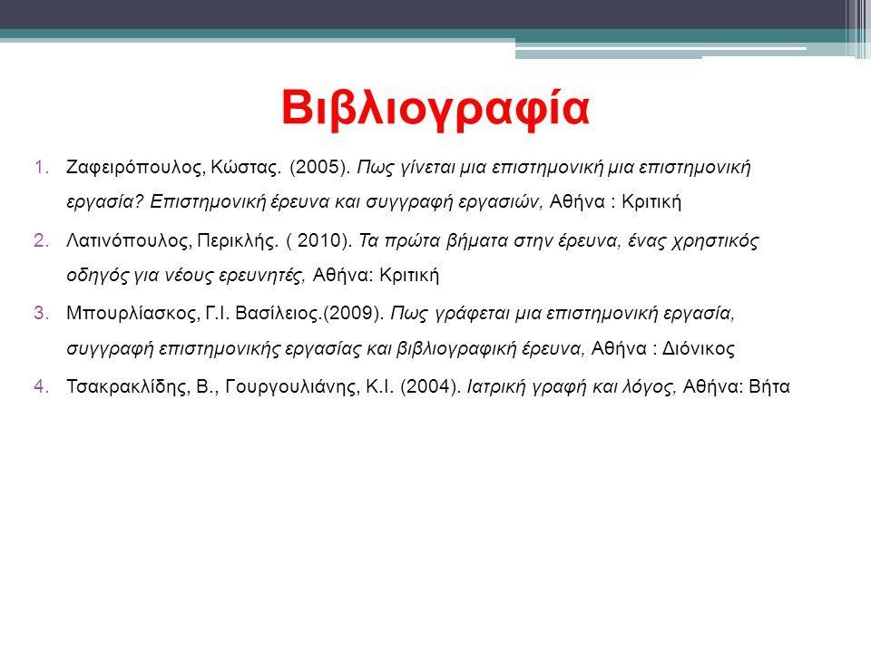 Βιβλιογραφία 1.Ζαφειρόπουλος, Κώστας.(2005).
