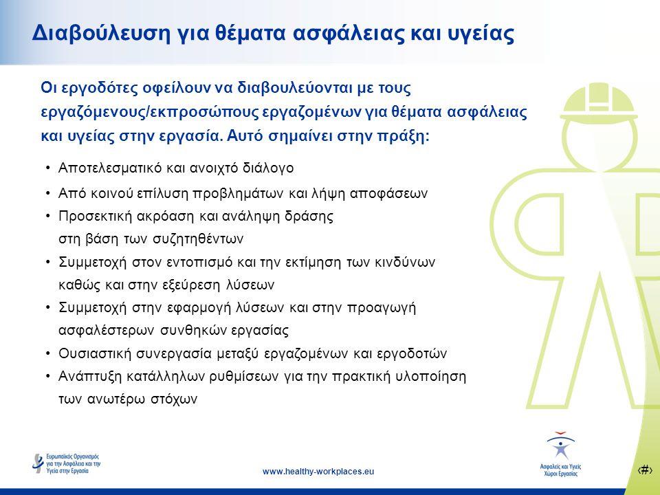 ‹#› www.healthy-workplaces.eu Διαβούλευση για θέματα ασφάλειας και υγείας Οι εργοδότες οφείλουν να διαβουλεύονται με τους εργαζόμενους/εκπροσώπους εργαζομένων για θέματα ασφάλειας και υγείας στην εργασία.