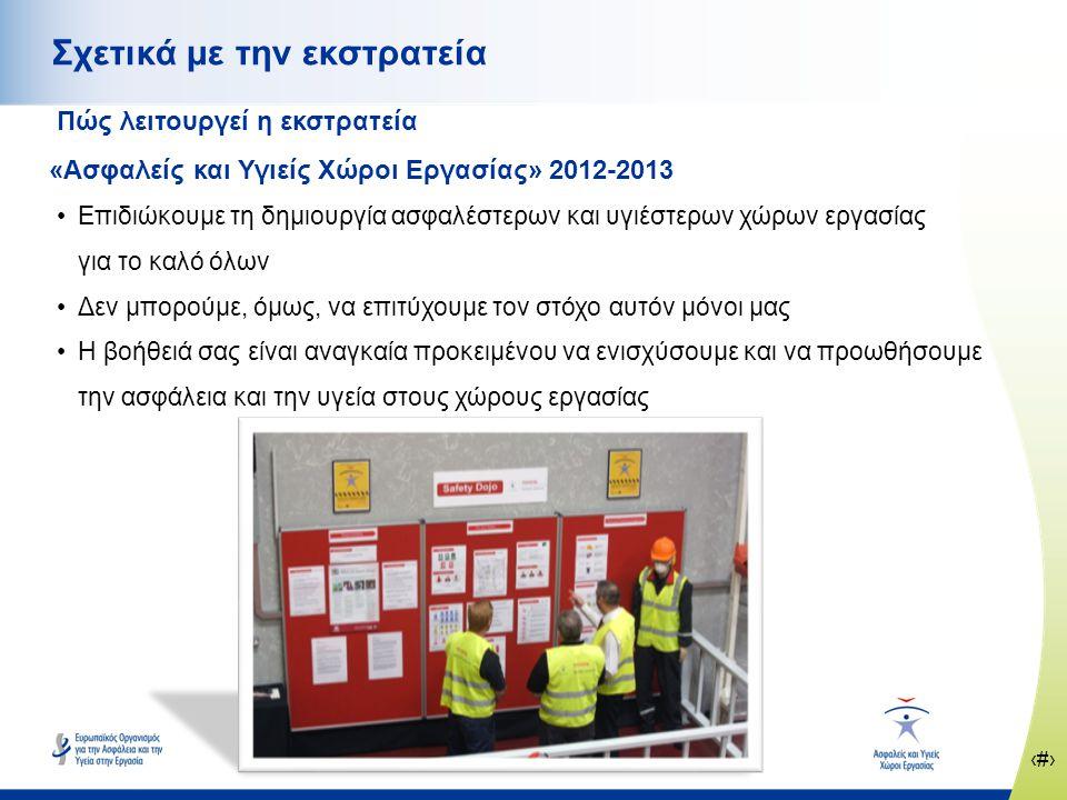 ‹#› www.healthy-workplaces.eu Σχετικά με την εκστρατεία Πώς λειτουργεί η εκστρατεία «Ασφαλείς και Υγιείς Χώροι Εργασίας» 2012-2013 •Επιδιώκουμε τη δημιουργία ασφαλέστερων και υγιέστερων χώρων εργασίας για το καλό όλων •Δεν μπορούμε, όμως, να επιτύχουμε τον στόχο αυτόν μόνοι μας •Η βοήθειά σας είναι αναγκαία προκειμένου να ενισχύσουμε και να προωθήσουμε την ασφάλεια και την υγεία στους χώρους εργασίας