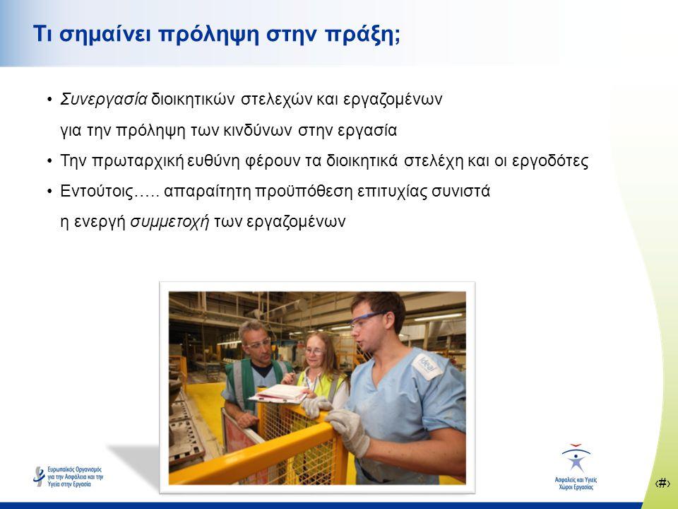 ‹#› www.healthy-workplaces.eu Βασικές αρχές της πρόληψης των κινδύνων στην εργασία •Αποφυγή των κινδύνων •Εκτίμηση των κινδύνων που δεν μπορούν να αποφευχθούν •Καταπολέμηση των κινδύνων στην πηγή τους •Προσαρμογή της εργασίας στα ιδιαίτερα χαρακτηριστικά του εκάστοτε εργαζομένου •Παρακολούθηση της εξέλιξης της τεχνικής •Αντικατάσταση του επικίνδυνου από το μη επικίνδυνο ή το λιγότερο επικίνδυνο •Ανάπτυξη συνεκτικής ολοκληρωμένης πολιτικής πρόληψης •Προτεραιότητα στη λήψη μέτρων ομαδικής προστασίας σε σχέση με τα μέτρα ατομικής προστασίας •Παροχή των κατάλληλων οδηγιών στους εργαζομένους
