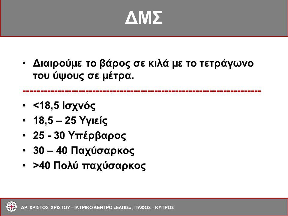 Μεταβολικό Σύνδρομο Σπλαχνική παχυσαρκία [> 102cm (m) >88 cm (f)] Γλυκόζη νηστείας ≥ 110 mg/dl Αρτηριακή πίεση ≥ 130 ≥ 85 mm Hg TG ≥ 150 mg/dl < 40 mg/dl (m) HDL-C < 50 mg/dl (f) Μεταβολικό Σύνδρομο ΔΡ.