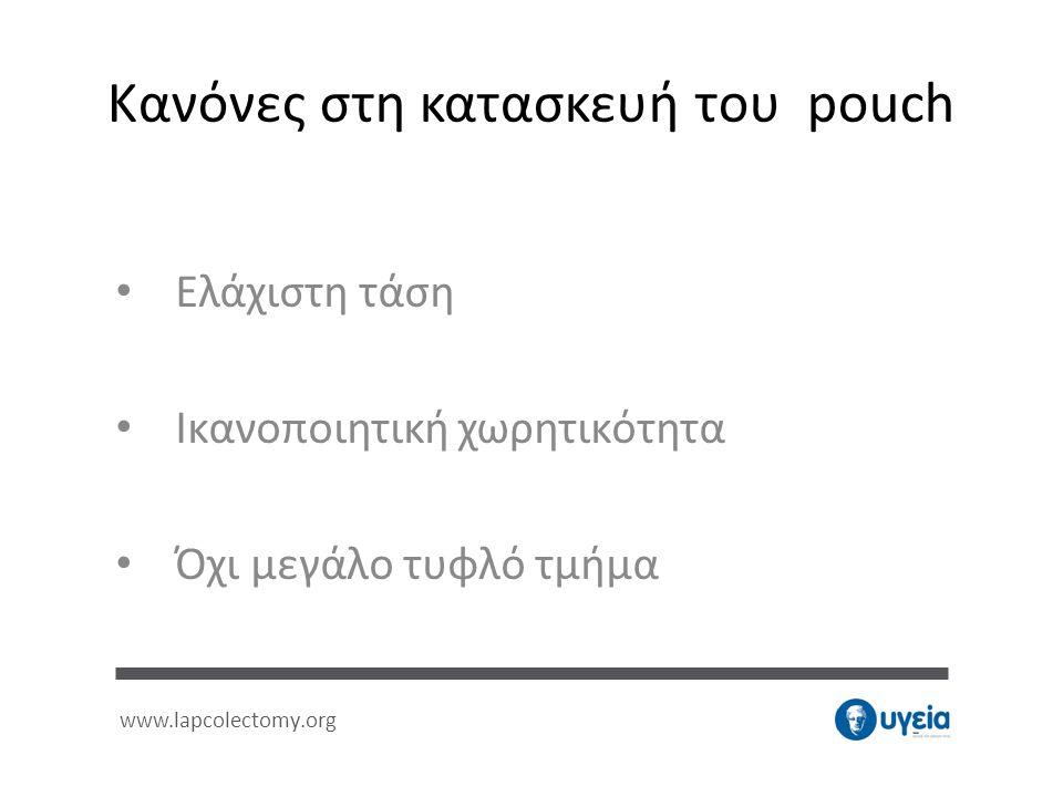 Κανόνες στη κατασκευή του pouch • Ελάχιστη τάση • Ικανοποιητική χωρητικότητα • Όχι μεγάλο τυφλό τμήμα www.lapcolectomy.org