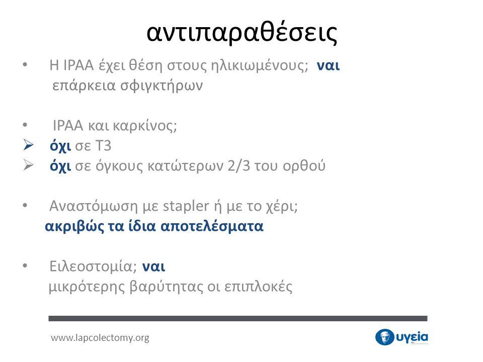 • Η IPAA έχει θέση στους ηλικιωμένους; ναι επάρκεια σφιγκτήρων • IPAA και καρκίνος;  όχι σε Τ3  όχι σε όγκους κατώτερων 2/3 του ορθού • Αναστόμωση μ