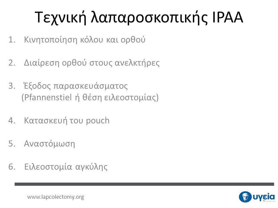 Τεχνική λαπαροσκοπικής IPAA 1.Κινητοποίηση κόλου και ορθού 2.Διαίρεση ορθού στους ανελκτήρες 3.Έξοδος παρασκευάσματος (Pfannenstiel ή θέση ειλεοστομία