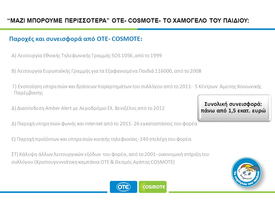 CORPORATE RESPONSIBILITY PROGRAMME Παροχές και συνεισφορά από ΟΤΕ- COSMOTE: ΜΑΖΙ ΜΠΟΡΟΥΜΕ ΠΕΡΙΣΣΟΤΕΡΑ ΟΤΕ- COSMOTE- ΤΟ ΧΑΜΟΓΕΛΟ ΤΟΥ ΠΑΙΔΙΟΥ: Α) Λειτουργία Εθνικής Τηλεφωνικής Γραμμής SOS 1056,από το 1999 Β) Λειτουργία Ευρωπαϊκής Γραμμής για τα Εξαφανισμένα Παιδιά 116000, από το 2008 Γ) Ενοποίηση υπηρεσιών και δράσεων παραρτημάτων του συλλόγου από το 2011- 5 Κέντρων Άμεσης Κοινωνικής Παρέμβασης Δ) Διασύνδεση Amber Alert με Αεροδρόμιο Ελ.