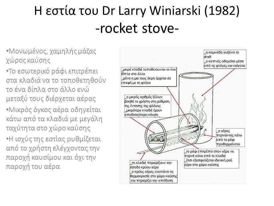 Η εστία του Dr Larry Winiarski (1982) -rocket stove- • Μονωμένος, χαμηλής μάζας χώρος καύσης • Το εσωτερικό ράφι επιτρέπει στα κλαδιά να το τοποθετηθούν το ένα δίπλα στο άλλο ενώ μεταξύ τους διέρχεται αέρας • Μικρός όγκος αέρα οδηγείται κάτω από τα κλαδιά με μεγάλη ταχύτητα στο χώρο καύσης • Η ισχύς της εστίας ρυθμίζεται από το χρήστη ελέγχοντας την παροχή καυσίμου και όχι την παροχή του αέρα