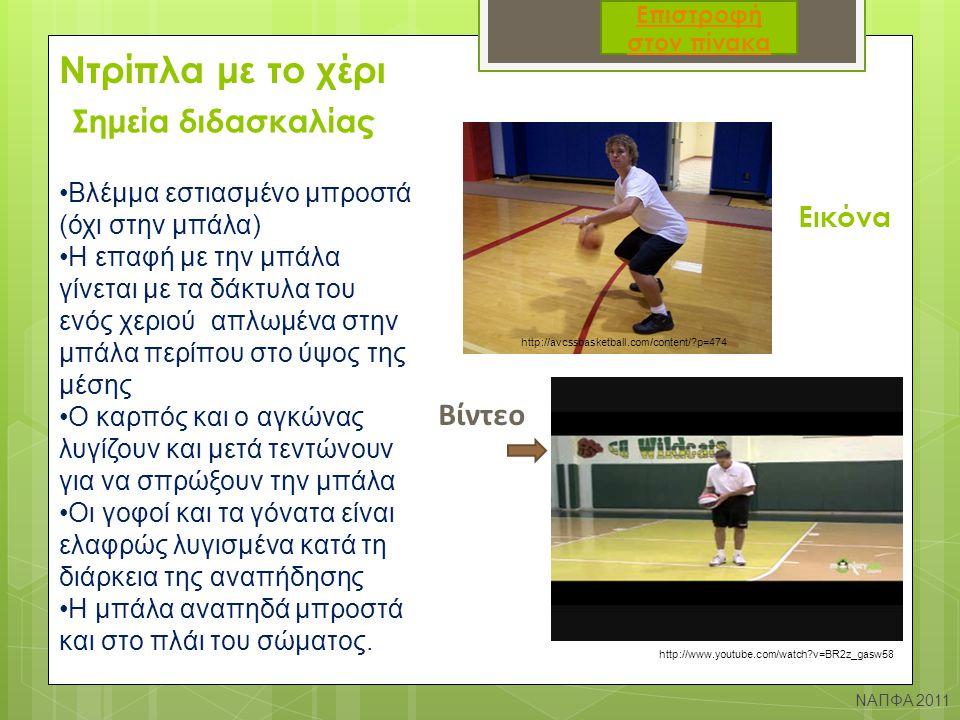 Ντρίπλα με το χέρι Σημεία διδασκαλίας Εικόνα •Βλέμμα εστιασμένο μπροστά (όχι στην μπάλα) •Η επαφή με την μπάλα γίνεται με τα δάκτυλα του ενός χεριού α