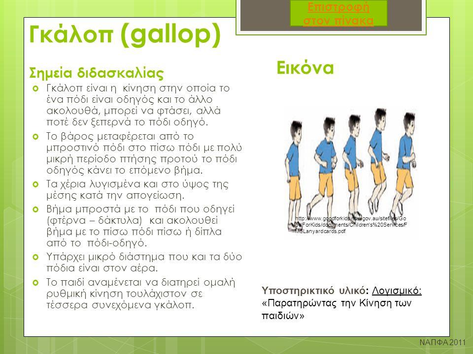 Γκάλοπ (gallop) Σημεία διδασκαλίας Εικόνα  Γκάλοπ είναι η κίνηση στην οποία το ένα πόδι είναι οδηγός και το άλλο ακολουθά, μπορεί να φτάσει, αλλά ποτ