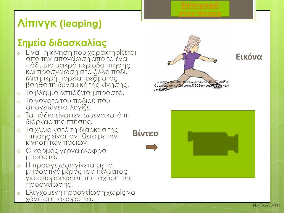 Ρολάρισμα σώματος μπροστά (Κυβίστηση) Σημεία διδασκαλίας Εικόνα  Κάθισμα στον αέρα με το σαγόνι να ακουμπά στο στήθος  Παλάμες στο κρεβατάκι στο άνοιγμα των ώμων, γοφοί προς τα πάνω και το πίσω μέρος του κεφαλιού ακουμπά στο κρεβατάκι  Σπρώξιμο με τα πόδια ώστε το βάρος του σώματος να μεταφερθεί στα χέρια και να γίνει κύλισμα στην πλάτη  Προσπάθεια για επαναφορά στην όρθια θέση χωρίς την βοήθεια των χεριών ΝΑΠΦΑ 2011 http://www.pi-schools.gr/content/index.php?lesson_id=3&ep=4 http://www.youtube.com/watch?v=jXR9tDe_JKI Βίντεο Επιστροφή στον πίνακα