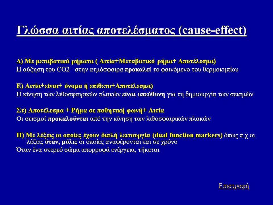 Γλώσσα αιτίας αποτελέσματος (cause-effect) Δ) Με μεταβατικά ρήματα ( Αιτία+Μεταβατικό ρήμα+ Αποτέλεσμα) Η αύξηση του CO2 στην ατμόσφαιρα προκαλεί το φ