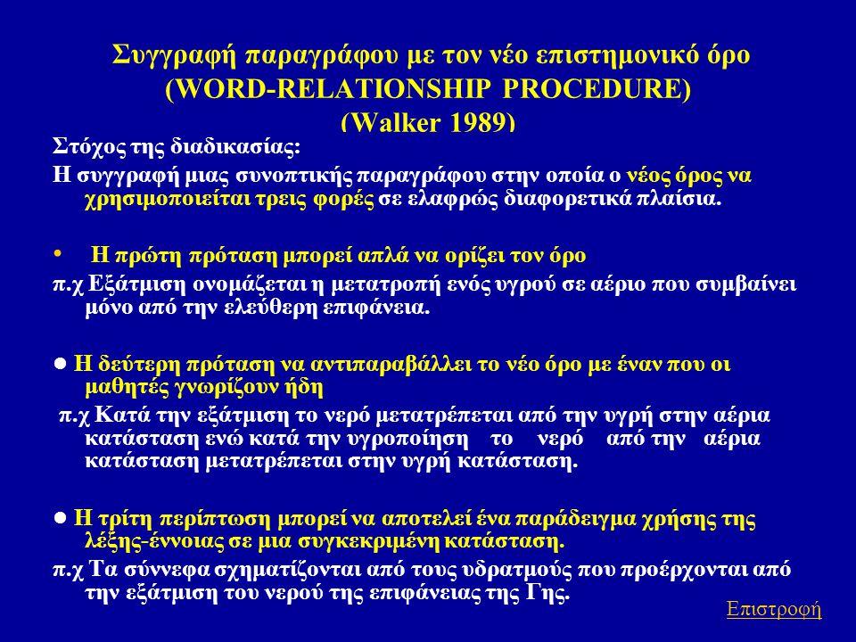 Συγγραφή παραγράφου με τον νέο επιστημονικό όρο (WORD-RELATIONSHIP PROCEDURE) (Walker 1989) Στόχος της διαδικασίας: Η συγγραφή μιας συνοπτικής παραγρά