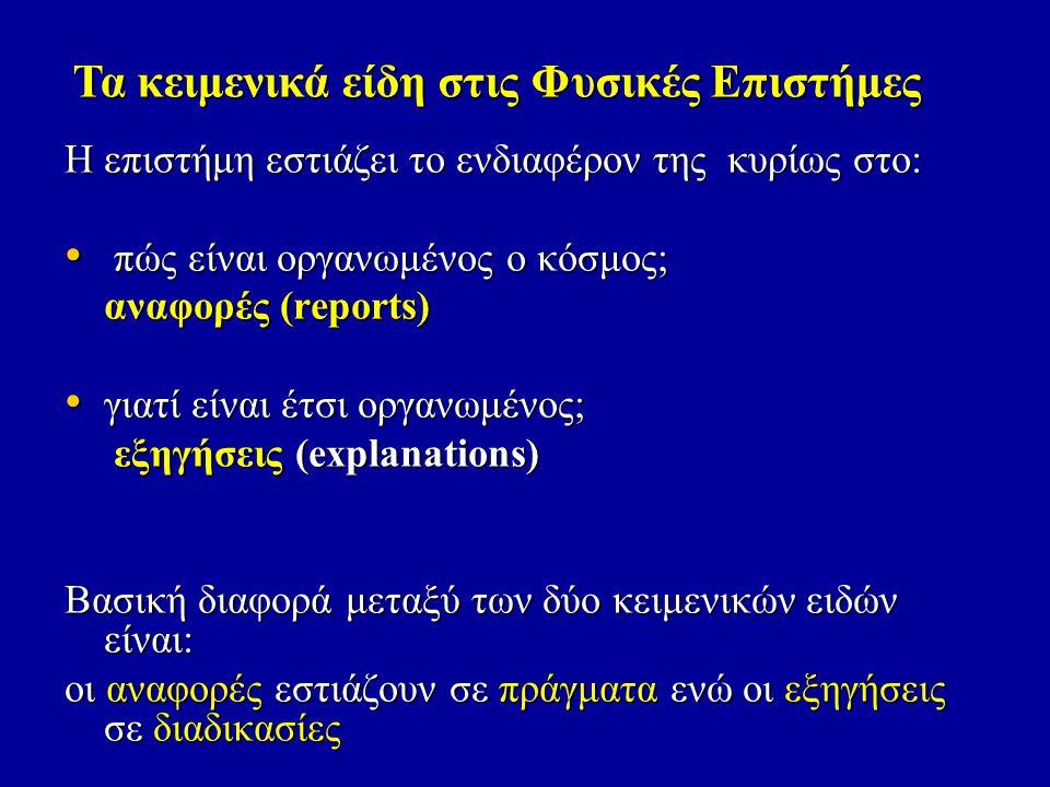 • αναφορές (reports): αποσύνθεσης, περιγραφής λειτουργιών, ταξινόμησης, λίστας ιδιοτήτων αποσύνθεσης, περιγραφής λειτουργιών, ταξινόμησης, αποσύνθεσης, περιγραφής λειτουργιών, ταξινόμησης, • εξηγήσεις (explanations) (explanations)(explanations) Τα κειμενικά είδη στις Φυσικές Επιστήμες Μετάβαση