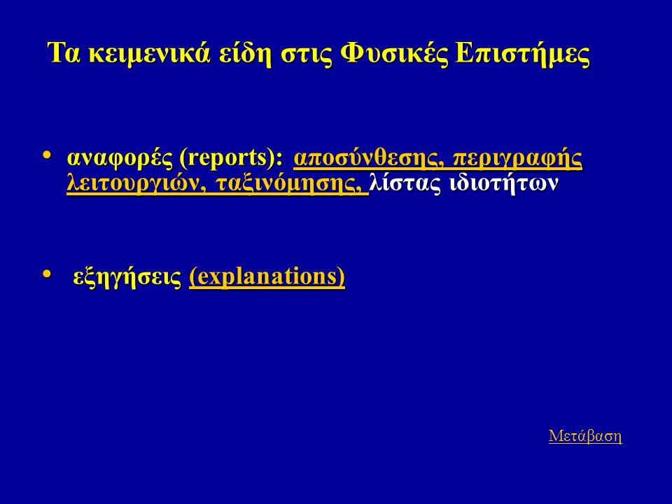 • αναφορές (reports): αποσύνθεσης, περιγραφής λειτουργιών, ταξινόμησης, λίστας ιδιοτήτων αποσύνθεσης, περιγραφής λειτουργιών, ταξινόμησης, αποσύνθεσης