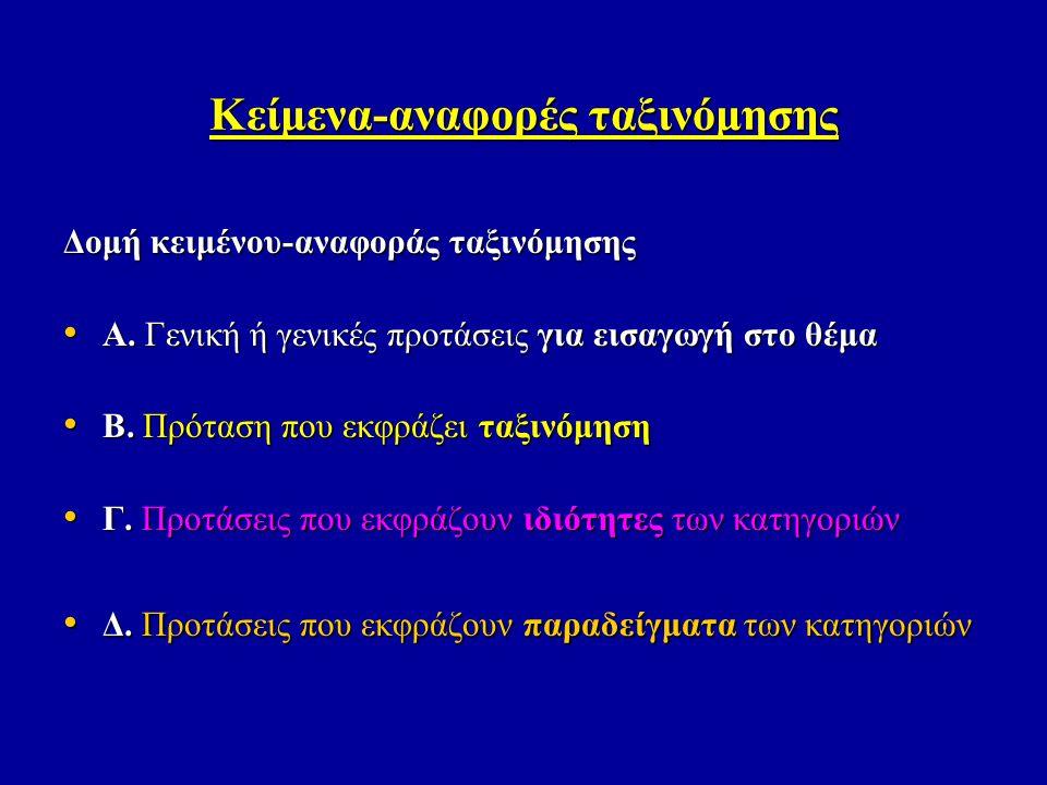 Κείμενα-αναφορές ταξινόμησης Δομή κειμένου-αναφοράς ταξινόμησης • Α. Γενική ή γενικές προτάσεις για εισαγωγή στο θέμα • Β. Πρόταση που εκφράζει ταξινό