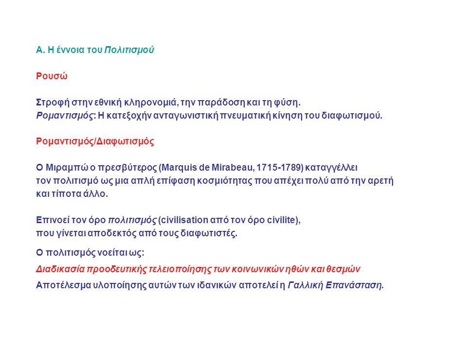 Α.Η έννοια του Πολιτισμού Ρουσώ Στροφή στην εθνική κληρονομιά, την παράδοση και τη φύση.