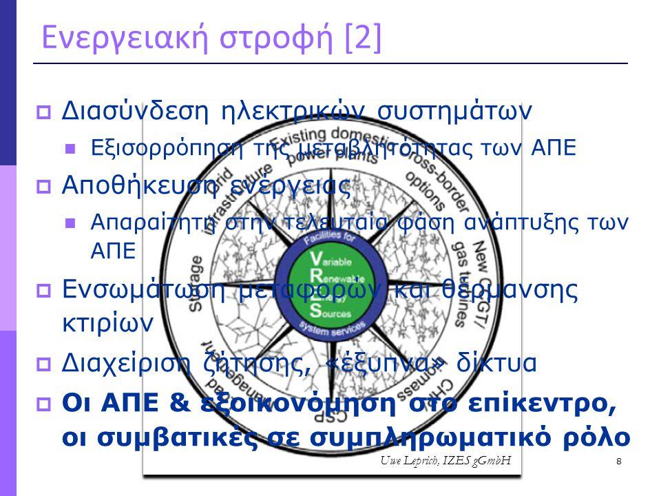 8 Ενεργειακή στροφή [2]  Διασύνδεση ηλεκτρικών συστημάτων  Εξισορρόπηση της μεταβλητότητας των ΑΠΕ  Αποθήκευση ενέργειας  Απαραίτητη στην τελευταί
