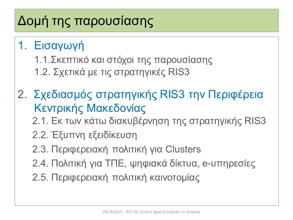 Δομή της παρουσίασης 1.Εισαγωγή 1.1.Σκεπτικό και στόχοι της παρουσίασης 1.2. Σχετικά με τις στρατηγικές RIS3 2. Σχεδιασμός στρατηγικής RIS3 την Περιφέ