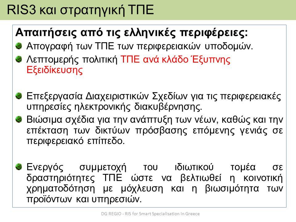 Απαιτήσεις από τις ελληνικές περιφέρειες: Απογραφή των ΤΠΕ των περιφερειακών υποδομών. Λεπτομερής πολιτική ΤΠΕ ανά κλάδο Έξυπνης Εξειδίκευσης Επεξεργα