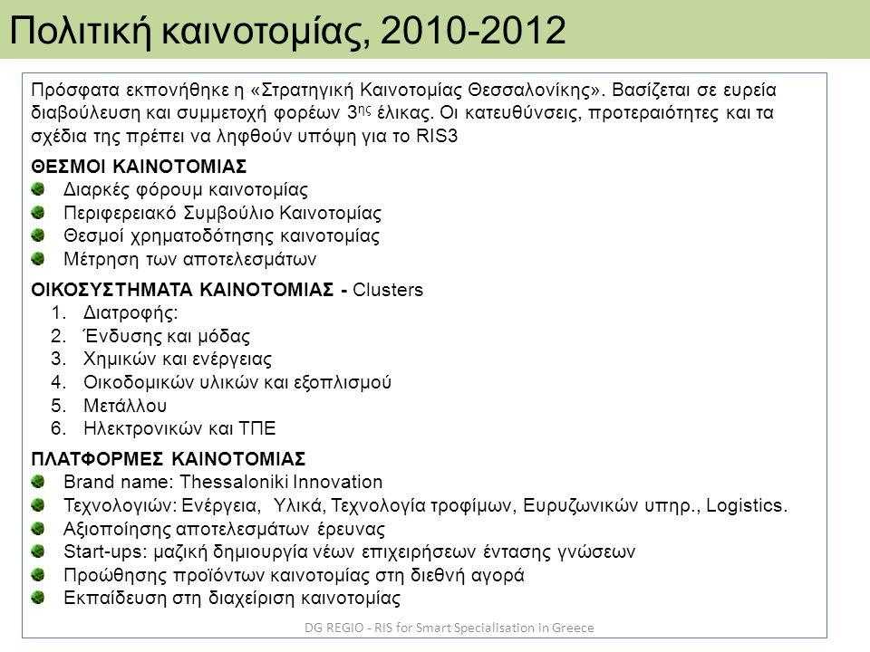 DG REGIO - RIS for Smart Specialisation in Greece Πολιτική καινοτομίας, 2010-2012 Πρόσφατα εκπονήθηκε η «Στρατηγική Καινοτομίας Θεσσαλονίκης». Βασίζετ