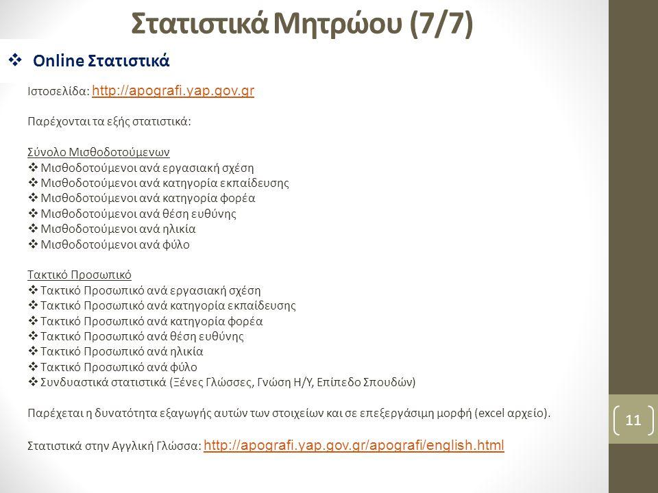 11 Στατιστικά Μητρώου (7/7)  Online Στατιστικά Ιστοσελίδα: http://apografi.yap.gov.gr http://apografi.yap.gov.gr Παρέχονται τα εξής στατιστικά: Σύνολ