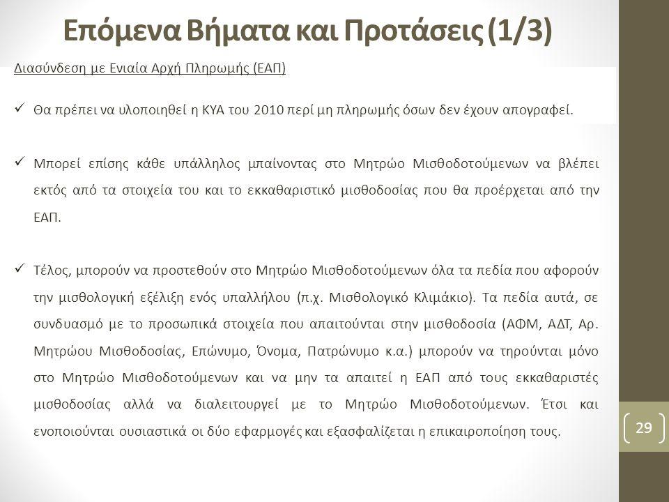 29 Επόμενα Βήματα και Προτάσεις (1/3) Διασύνδεση με Ενιαία Αρχή Πληρωμής (ΕΑΠ)  Θα πρέπει να υλοποιηθεί η ΚΥΑ του 2010 περί μη πληρωμής όσων δεν έχου