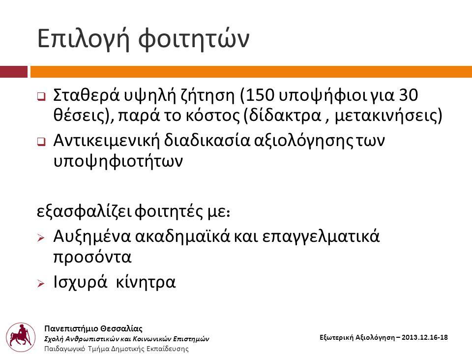 Πανεπιστήμιο Θεσσαλίας Σχολή Ανθρωπιστικών και Κοινωνικών Επιστημών Παιδαγωγικό Τμήμα Δημοτικής Εκπαίδευσης Εξωτερική Αξιολόγηση – 2013.12.16-18 Επιλο