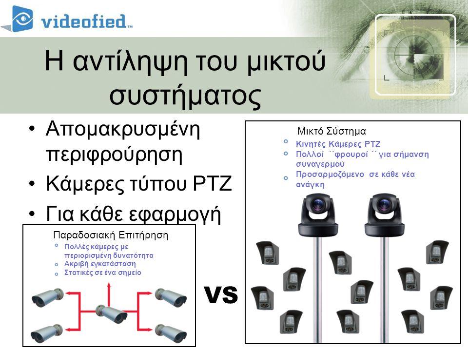 Η αντίληψη του μικτού συστήματος •Απομακρυσμένη περιφρούρηση •Κάμερες τύπου PTZ •Για κάθε εφαρμογή VS Πολλές κάμερες με περιορισμένη δυνατότητα Ακριβή