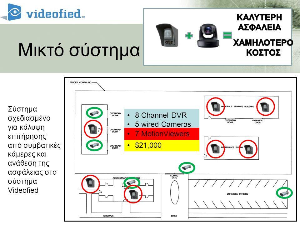 Μικτό σύστημα •8 Channel DVR •5 wired Cameras •$21,000 •7 MotionViewers Σύστημα σχεδιασμένο για κάλυψη επιτήρησης από συμβατικές κάμερες και ανάθεση τ