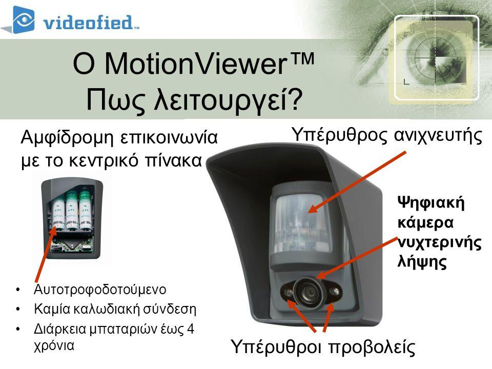 Ο MotionViewer™ Πως λειτουργεί? Υπέρυθρος ανιχνευτής Ψηφιακή κάμερα νυχτερινής λήψης Υπέρυθροι προβολείς •Αυτοτροφοδοτούμενο •Καμία καλωδιακή σύνδεση