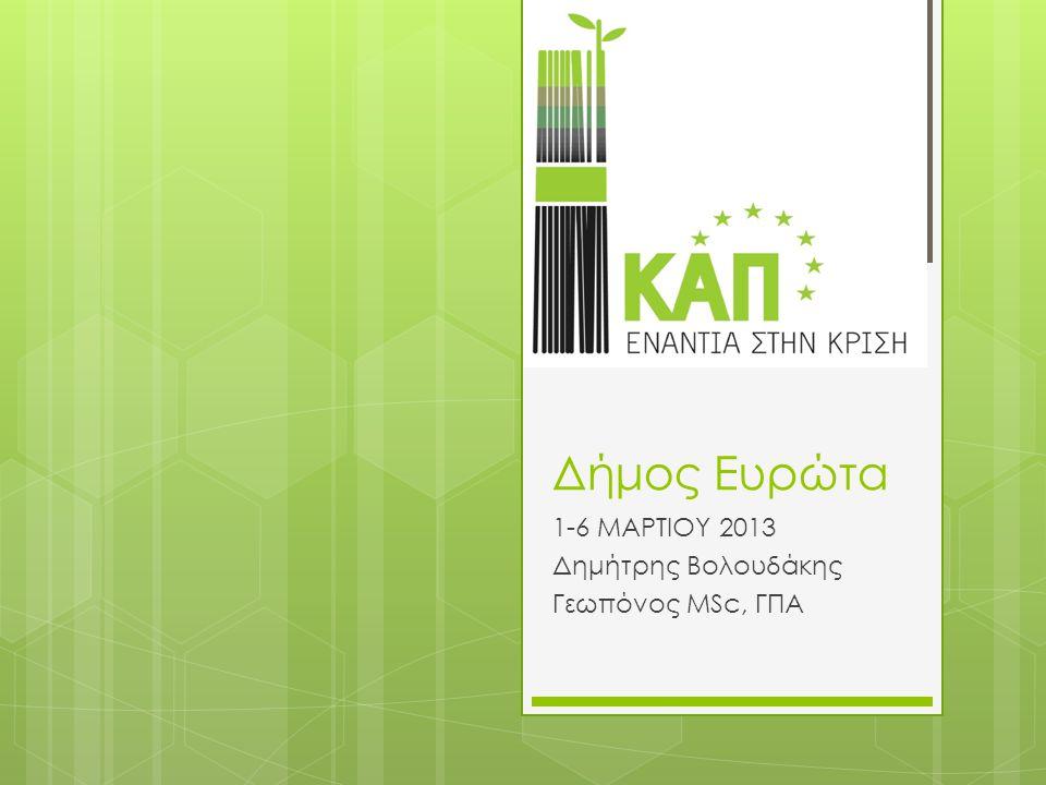 Δήμος Ευρώτα 1-6 ΜΑΡΤΙΟΥ 2013 Δημήτρης Βολουδάκης Γεωπόνος MSc, ΓΠΑ
