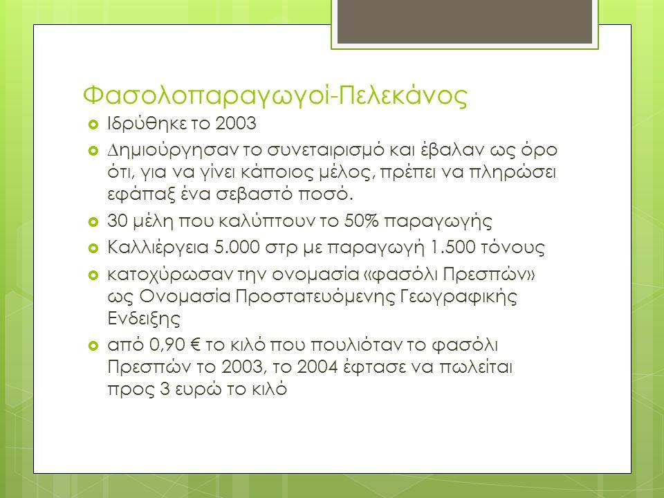 Φασολοπαραγωγοί-Πελεκάνος  Ιδρύθηκε το 2003  ∆ηµιούργησαν το συνεταιρισµό και έβαλαν ως όρο ότι, για να γίνει κάποιος µέλος, πρέπει να πληρώσει εφάπ
