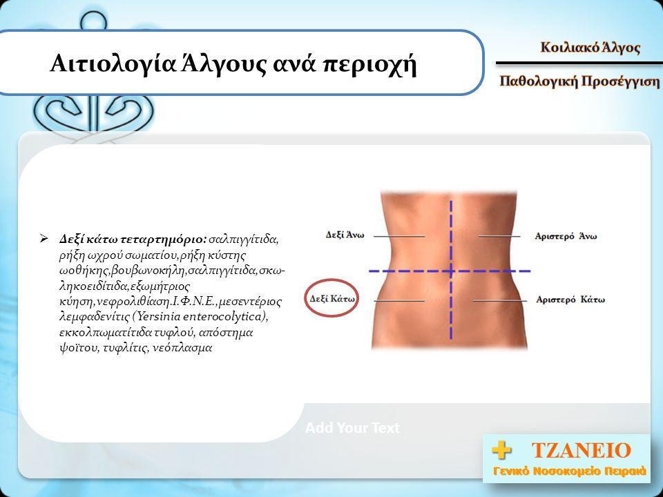 Αιτιολογία Άλγους ανά περιοχή Add Your Text  Δεξί κάτω τεταρτημόριο: σαλπιγγίτιδα, ρήξη ωχρού σωματίου,ρήξη κύστης ωοθήκης,βουβωνοκήλη,σαλπιγγίτιδα,σ