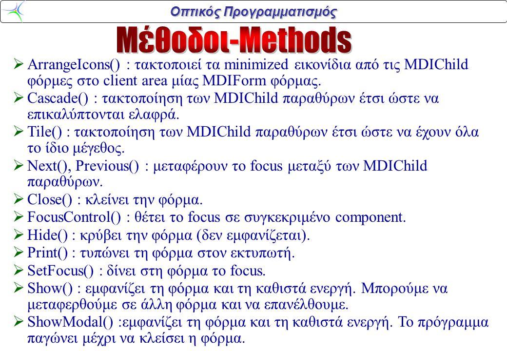 Οπτικός Προγραμματισμός  ArrangeIcons() : τακτοποιεί τα minimized εικονίδια από τις MDIChild φόρμες στο client area μίας MDIForm φόρμας.  Cascade()