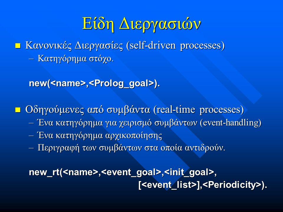 Είδη Διεργασιών  Κανονικές Διεργασίες (self-driven processes) –Κατηγόρημα στόχο.