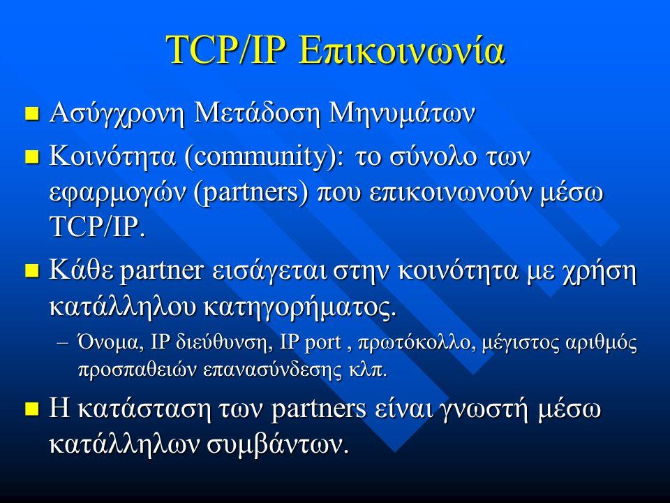 TCP/IP Επικοινωνία  Ασύγχρονη Μετάδοση Μηνυμάτων  Κοινότητα (community): το σύνολο των εφαρμογών (partners) που επικοινωνούν μέσω TCP/IP.