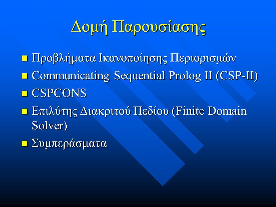 Δομή Παρουσίασης  Προβλήματα Ικανοποίησης Περιορισμών  Communicating Sequential Prolog II (CSP-II)  CSPCONS  Επιλύτης Διακριτού Πεδίου (Finite Domain Solver)  Συμπεράσματα