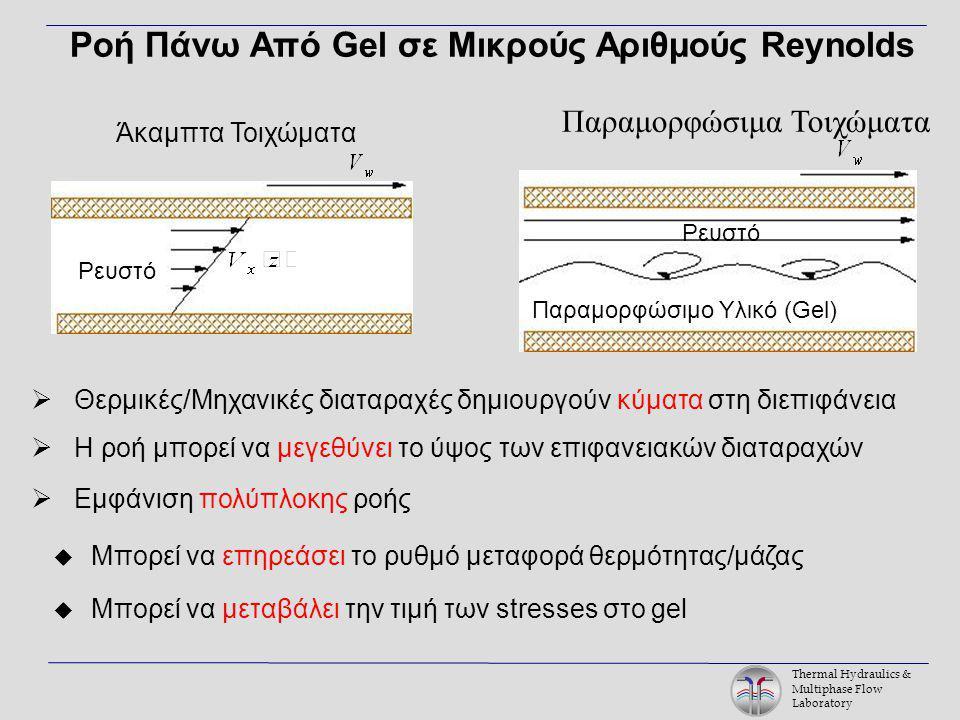 Thermal Hydraulics & Multiphase Flow Laboratory Ροή Πάνω Από Gel σε Μικρούς Αριθμούς Reynolds Παραμορφώσιμο Υλικό (Gel) Ρευστό  Θερμικές/Μηχανικές διαταραχές δημιουργούν κύματα στη διεπιφάνεια  Η ροή μπορεί να μεγεθύνει το ύψος των επιφανειακών διαταραχών  Εμφάνιση πολύπλοκης ροής  Μπορεί να επηρεάσει το ρυθμό μεταφορά θερμότητας/μάζας  Μπορεί να μεταβάλει την τιμή των stresses στο gel Άκαμπτα Τοιχώματα Ρευστό Παραμορφώσιμα Τοιχώματα