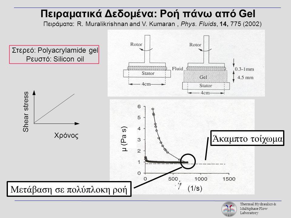 Thermal Hydraulics & Multiphase Flow Laboratory Πειραματικά Δεδομένα: Ροή πάνω από Gel Πειράματα: R.