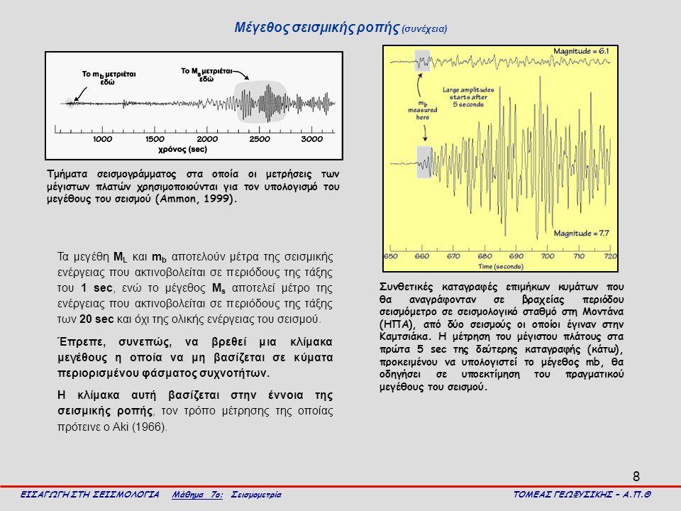 8 Μέγεθος σεισμικής ροπής (συνέχεια) ΕΙΣΑΓΩΓΗ ΣΤΗ ΣΕΙΣΜΟΛΟΓΙΑ Μάθημα 7ο: Σεισμομετρία ΤΟΜΕΑΣ ΓΕΩΦΥΣΙΚΗΣ – Α.Π.Θ Τμήματα σεισμογράμματος στα οποία οι μ