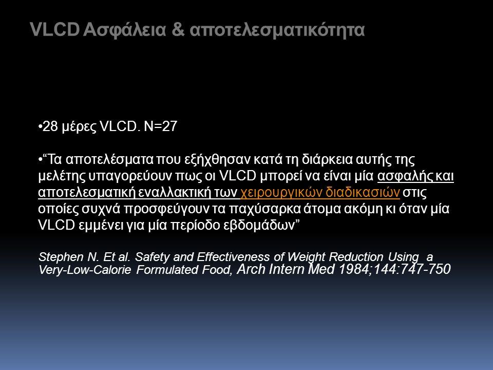 "VLCD Ασφάλεια & αποτελεσματικότητα •28 μέρες VLCD. N=27 •""Τα αποτελέσματα που εξήχθησαν κατά τη διάρκεια αυτής της μελέτης υπαγορεύουν πως οι VLCD μπο"