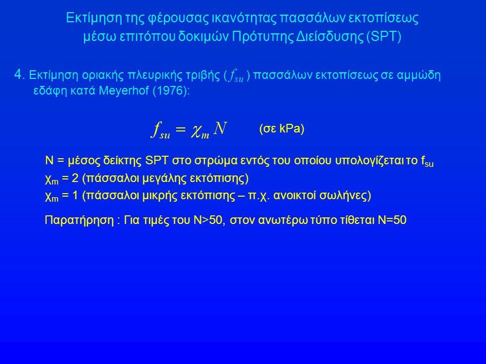 Εκτίμηση της φέρουσας ικανότητας πασσάλων εκτοπίσεως μέσω επιτόπου δοκιμών Πρότυπης Διείσδυσης (SPT) 4. Εκτίμηση οριακής πλευρικής τριβής ( f su ) πασ