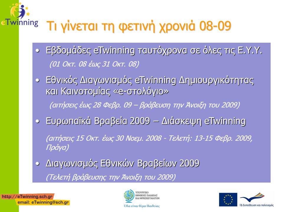 Τι γίνεται τη φετινή χρονιά 08-09 •Εβδομάδες eTwinning ταυτόχρονα σε όλες τις Ε.Υ.Υ. (01 Οκτ. 08 έως 31 Οκτ. 08) •Εθνικός Διαγωνισμός eTwinning Δημιου