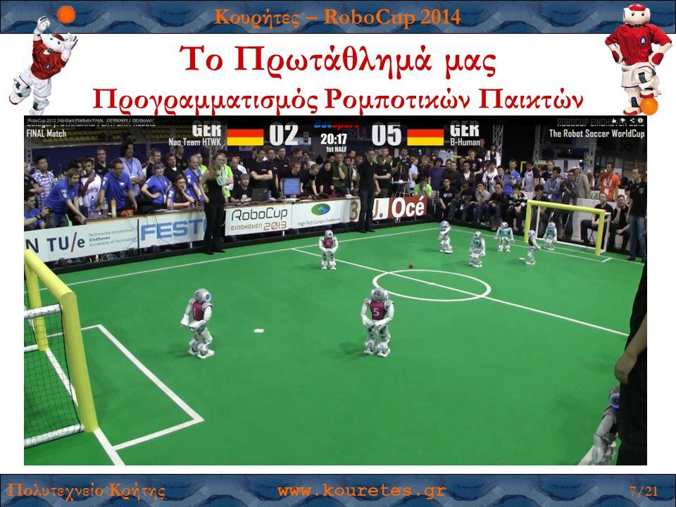 Κουρήτες – RoboCup 2014 Πολυτεχνείο Κρήτης www.kouretes.gr 7/21 Το Πρωτάθλημά μας Προγραμματισμός Ρομποτικών Παικτών